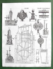 FIRE ENGINE Pumps - 1832 Original Antique Print