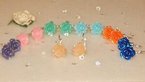 S/P Lever Back Earrings & 15mm Resin AB Roses-Choose Colour-Special Occasions