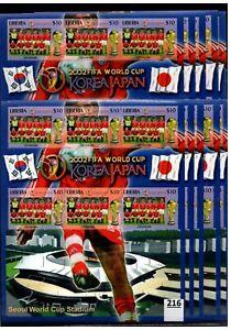 # 10X LIBERIA - MNH - SPORTS - SOCCER - FLAGS - JAPAN - KOREA - 2002