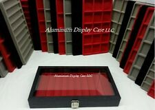 Hinged  Glass Top Display Case w/ 10 Slot Red Insert