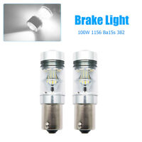 2x 100W 1156 BA15S 382 P21W CREE XBD WHITE LED STOP REVERSE LIGHT CANBUS* BULB