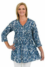 Paisley 3/4 Sleeve Tunic Regular Size Tops for Women