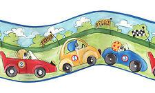 Curvy Car Race Track for Boys Blue Edge Wallpaper Border UY30001B