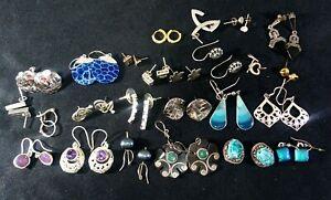Job lot x 25 Woman's 925 Sterling Silver  Earrings