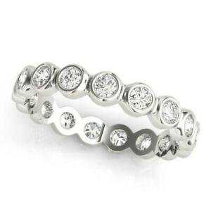 1.00 Ct Moissanite Wedding Eternity Band 14K Solid White Gold Round Cut Rings