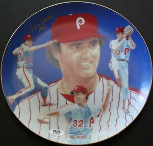 """10 1/4"""" commemorative plate signed by pitching great Steve Carlton 1985 PSA COA"""