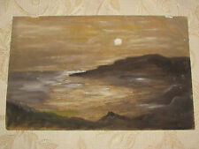 Vintage Original Oil Painting Picture On Board ''Sundown''