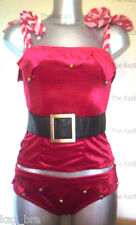 Red Velvet Santa Jingle Bustier & Briefs UK 12 Christmas Fancy Dress Lingerie