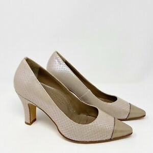 Anyi Lu Iridescent Snakeskin Embossed Pumps Leather Italy Beige Pink Sz 36 US 6