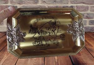 Ancien Vide Poche Plateau Décoratif métal doré décoration bouquet de roses souve