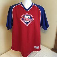 True Fan Mens Embroidered Logo Shirt Large Philadelphia Phillies MLB Free Ship!