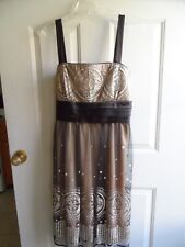 R&M Richards Party/Coctail Dress,W/Straps,Embelished Black/Tan/silver Sz 14 NWOT