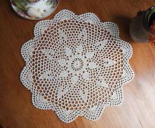 Cotton Hand Crochet Lace Doily Doilies Mat Placemat Round 38CM Beige Ecru FP03