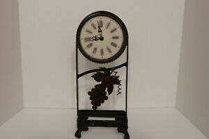 Beautiful Antique Engraved Metal Desk Table Clock Grape Leaf