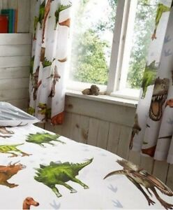 "Dinosaurs Dino T-Rex Kids Boys Pencil Pleat Bedroom Curtains Set 66"" X 72"" 183cm"