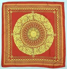 Vintage Scarf RED Gold SUN Celestial Greek Laurel Flower Classic Beach