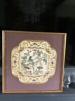 Vintage Framed and Glazed ornate Japanese Bird Tapestry/embroidery picture