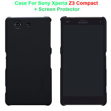 Nillkin Black Hard Case Skin Cover For Sony Xperia Z3 Compact + Screen Protector