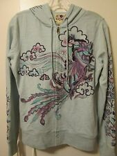 Lucky Brand Unique Baby Blue Embroidered Geisha Floral Hooded Zip Jacket M NWT