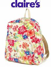 NWT CLAIRE'S  BEIGE FLORAL BACKPACK GOLD STUD ADORABLE BAG SEE NEW!!