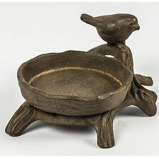 Country Style Outdoor Indoor Rustic Metal Finish Brown Decorative Bird Bath Feed