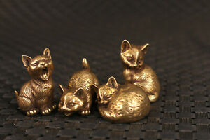 chinese copper bronze hand cast 4 piece lovely cats statue Tea Pet table deco