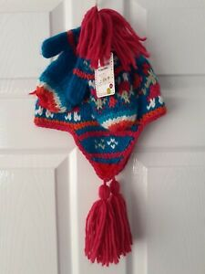 Brand New Girls Peter Storm Knitted Hat- Earflaps & Mittens Pink & Blue Age 7-10