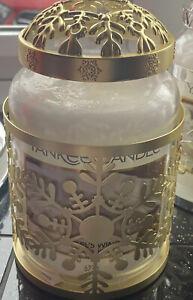"""New Yankee Large Candle """"Snowflake Frost""""Jar Sleeve Holder & Illuma Lid Gold Set"""