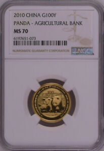 NGC MS70 2010 China Panda Agricultural Bank 1/4oz Gold Coin