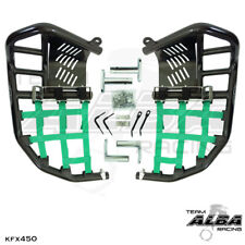 Kawasaki KFX 450 KFX450  Nerf Bars   Pro Peg  Heel Guard Alba Racing Black Grn