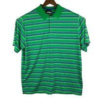 Nike Golf DRI FIT Men's Polo Shirt Size XL Green Striped Short Sleeve S/S