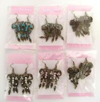 NEW BRASS BUTTERFLY DANGLE EARRINGS CHOICE OF RHINESTONE GEM COLOR RETAIL PACKED