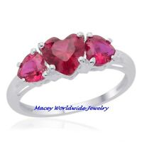 Lovely 3 Heart Platinum Silver Created Ruby Ring 2.80 Carats Size 8