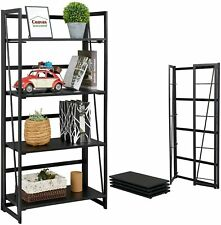 Coavas Frosted Folding Bookshelf Home Office Industrial Bookcase 4 Tiers Black