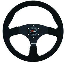 Motamec Race Rally Steering Wheel Flat Spoke 350mm Black Suede Black Spoke Spoke