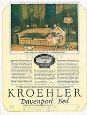 1920s BIG Vintage Kroehler Furniture Davenport Bed Art Print Ad