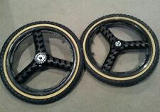 "NEW 20"" MAG WHEELS 3 SPOKE BLACK TIRES TUBES FOR GT DYNO HARO OR BMX BICYCLES"