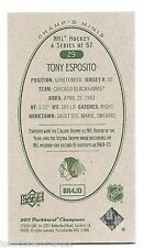 11/12 PARKHURST CHAMPIONS CHAMP'S MINI GREEN BACK PARALLEL Tony Esposito #29