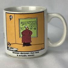 The Far Side Einstein Discovers That Time is Actually Money Coffee Mug 1985