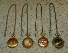 U.S.S. Constitution, Wild Life Scene & 2 Other - (4) Pocket Watches w/ Chains