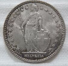 1910 Switzerland Swiss 1 Silver Franc Tarnished Very Choice About Uncirculated