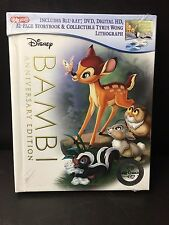 Disney's Bambi Target Exclusive Blu Ray, DVD + Dig HD w/ Storybook & Lithograph