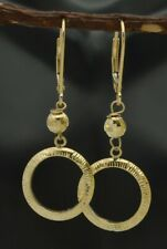 REAL 10k Solid Yellow Gold Circle Diamond-Cut Leverback Earrings