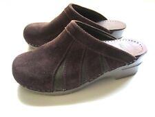 Dansko Sonja Brown Suede Leather Slip-on Slides Clogs Mules EU38 Womens Shoes