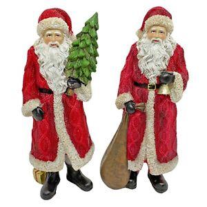 Pair of Father Christmas Ornaments Festive Santa Figurines