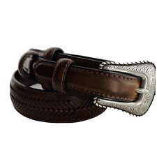 Vintage Nocona Brown Leather Silver Metal Buckle Western Cowboy Belt Sz 34