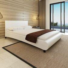 vidaXL Bedframe Bol Kunstleer Wit 140x200cm Kunstleren Bed Frame Bedombouw