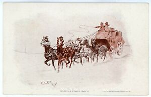 Postcard - Signed by Charlie Russell, Western Stage Coach