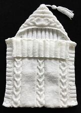 TO ORDER - NEWBORN 0-3 MONTHS Hand Knitted Baby Sleeping Bag Cocoon Sleep Sack