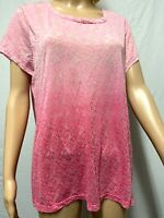 NEW! Chico's Weekends, Women's Top, Size 2=M,Vibrant Pink Medallion Burnout, S/S